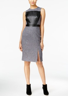 Catherine Malandrino Shari Faux-Leather-Front Sheath Dress