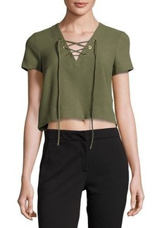 Catherine Malandrino Short-Sleeve Lace-Up Crop Blouse
