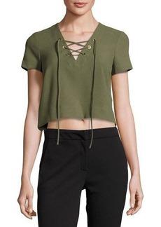Catherine Malandrino Short-Sleeve Lace-Up Crop Blouse