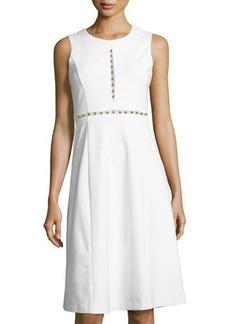Catherine Malandrino Sleeveless Beaded-Trim Knit Dress