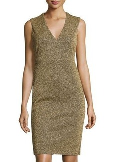 Catherine Malandrino Sleeveless Metallic V-Neck Sheath Dress