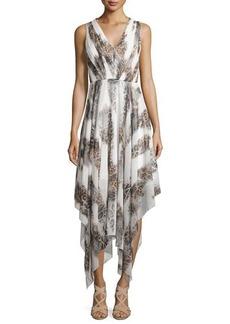 Catherine Malandrino Sleeveless V-Neck Cheetah-Print Handkerchief Dress