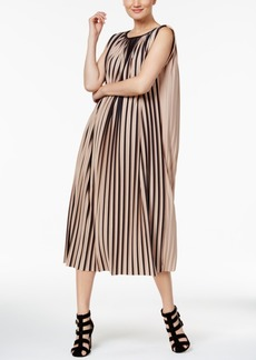 Catherine Malandrino Striped Pleated Midi Dress