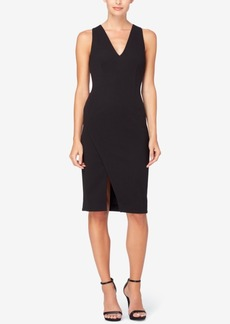 Catherine Malandrino Textured Faux-Wrap Sheath Dress