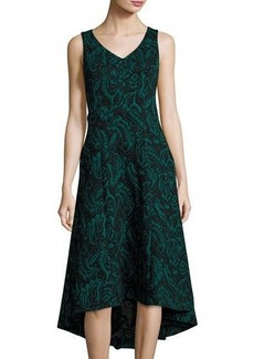 Catherine Malandrino Velvet Jacquard High-Low Dress