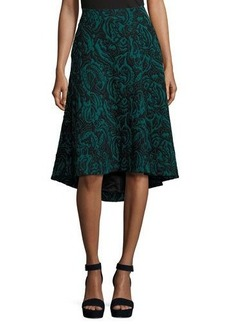 Catherine Malandrino Velvet Jacquard High-Low Skirt