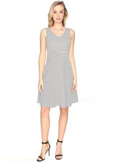 Check Jacquard Sleeveless Fit & Flare Dress