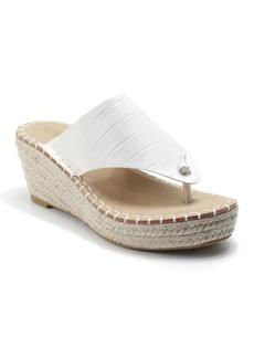 Catherine Malandrino Citro Croc Embossed Thong Espadrille Platform Sandal