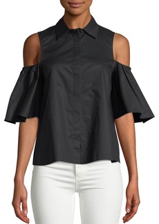 Catherine Malandrino Cold-Shoulder Button-Front Shirt