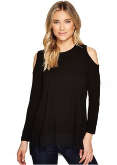 Catherine Malandrino Cold Shoulder Mixed Media Sweater