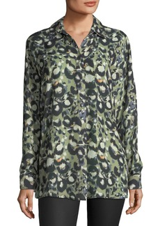 Collared Printed Chiffon Blouse