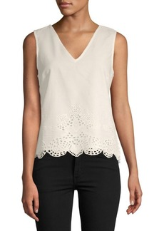 Catherine Malandrino Cotton Eyelet Shell Top