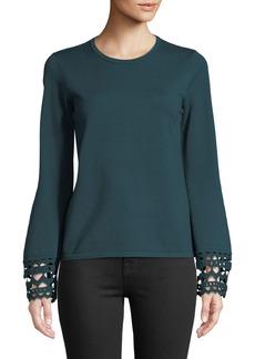 Catherine Malandrino Crochet-Cuff Crewneck Sweater