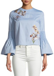 Catherine Malandrino Embroidered Bell-Sleeve Blouse