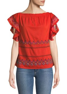 Embroidered Boat-Neck Blouse