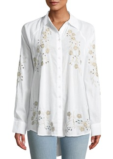 Catherine Malandrino Embroidered Oversized Blouse