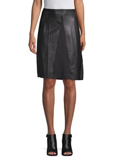 Catherine Malandrino Faux-Leather A-line Dress