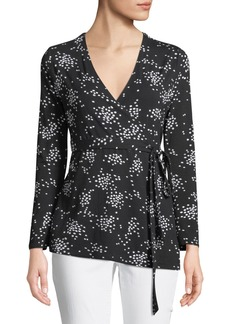 Catherine Malandrino Flare-Sleeve Speckled Wrap Top
