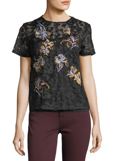 Catherine Malandrino Floral-Embroidered Short-Sleeve Lace Tee