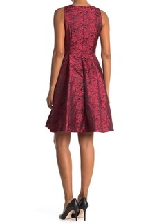 Catherine Malandrino Floral Jacquard V-Neck Sleeveless Fit & Flare Dress