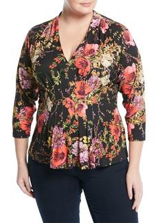 Floral-Print Jersey Blouse