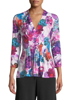 Catherine Malandrino Floral-Print Pleat-Front Blouse