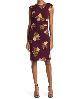 Catherine Malandrino Floral Ruched Cap Sleeve Sheath Dress