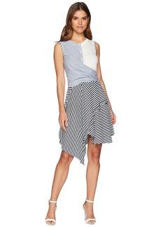 Catherine Malandrino Franka Sleeveless Multi Stripe Twist Front Dress