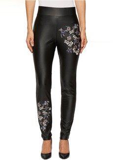 Full Length Fitted Faux Leather Embroidered Pants