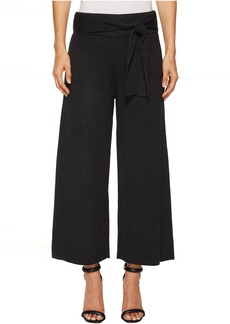 Knit Tie Front Wide Culotte Pants
