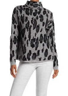 Catherine Malandrino Leopard Print Mock Neck Cashmere Sweater