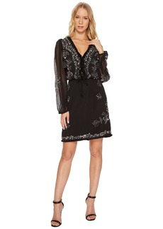Catherine Malandrino Long Sleeve Beaded Dress w/ Fringe Trim
