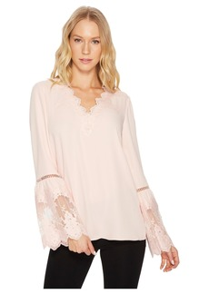 Catherine Malandrino Long Sleeve Blouse w/ Lace Applique & Trim