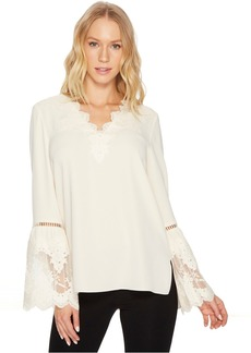 Catherine Malandrino Long Sleeve Blouse w/ Lace Applique & Trim