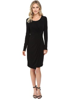 Long Sleeve Knot Front Wrap Dress