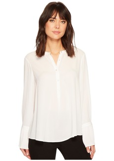 Catherine Malandrino Long Sleeve Mandarin Collar Blouse w/ Pleated Cuff