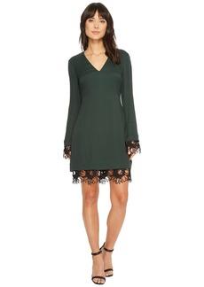 Catherine Malandrino Long Sleeve V-Neck Dress w/ Crochet Detail