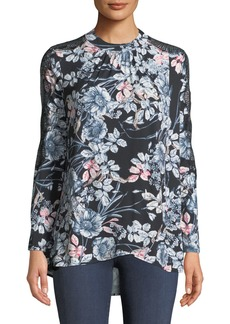 Catherine Malandrino Mock-Neck Lace-Sleeve Floral Blouse