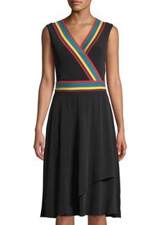 Catherine Malandrino Multicolor Striped-Trim Sleeveless Wrap Dress