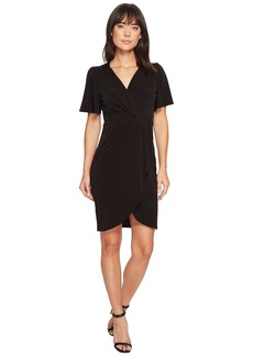 Catherine Malandrino Nyla V-Neck Short Sleeve Twist Front Midi Dress