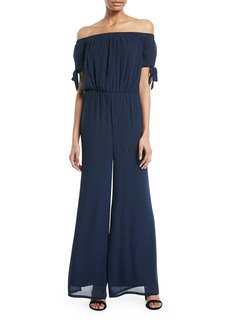 Catherine Malandrino Off-The-Shoulder Chiffon Jumpsuit