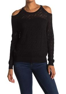 Catherine Malandrino Pointelle Cold Shoulder Pullover Sweater