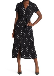 Catherine Malandrino Polka Dot Short Sleeve Midi Dress