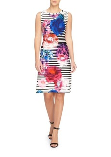Randy Striped Floral Sheath Dress