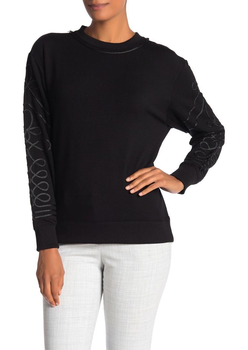 Catherine Malandrino Ribbon Swirl Fleece Pullover Sweatshirt