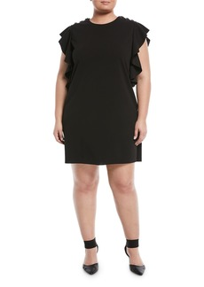 Ruffle-Sleeve Grommet-Shoulder Shift Dress