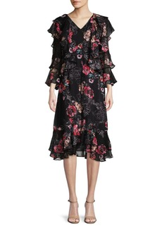 Catherine Malandrino Ruffled Floral-Print Dress