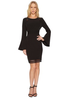 Catherine Malandrino Scoop Neck Faggoting Insert Long Sleeve Flare Dress