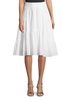 Catherine Malandrino Seamed A-Line Cotton Midi Skirt