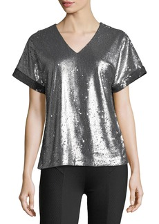 Catherine Malandrino Sequined V-Neck Tee